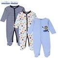 3 Unids/lote Primavera Bebé Mono de Manga Larga de Los Mamelucos Del Niño Niños Ropa de Escalada Infantil Traje ropa de Dormir Pijamas Para Niños bebes