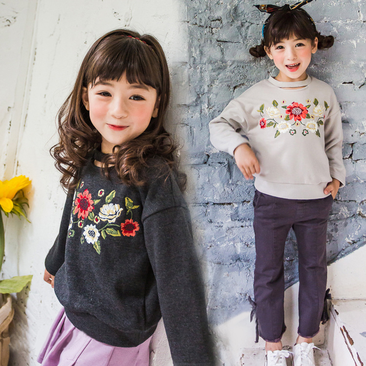 Baby Girls Embroidery Flower Sweatshirts Long Sleeve T Shirts Children Outerwear Coat Kids Jumpers Clothes 2017 Autumn Girl Tops