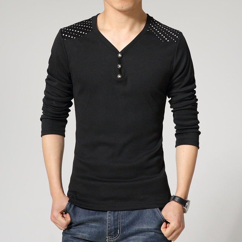 2015 Fashion Autumn Style Sport V Neck Full Sleeve T Shirt Men Cotton  Bottons Casual Men s Tee Shirt Five Star And Moon Printed-in T-Shirts from  Men s ... cd5476cbf616