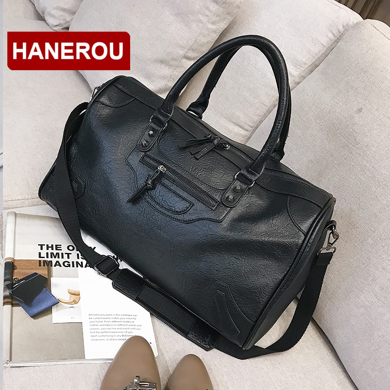 3f39e4f09b Brand Design PU Leather Men Women Travel Shoulder Bags Carry On Luggage  Bags Luxury Duffel Bag Travel Tote Large Weekend Bag-in Travel Bags from  Luggage ...