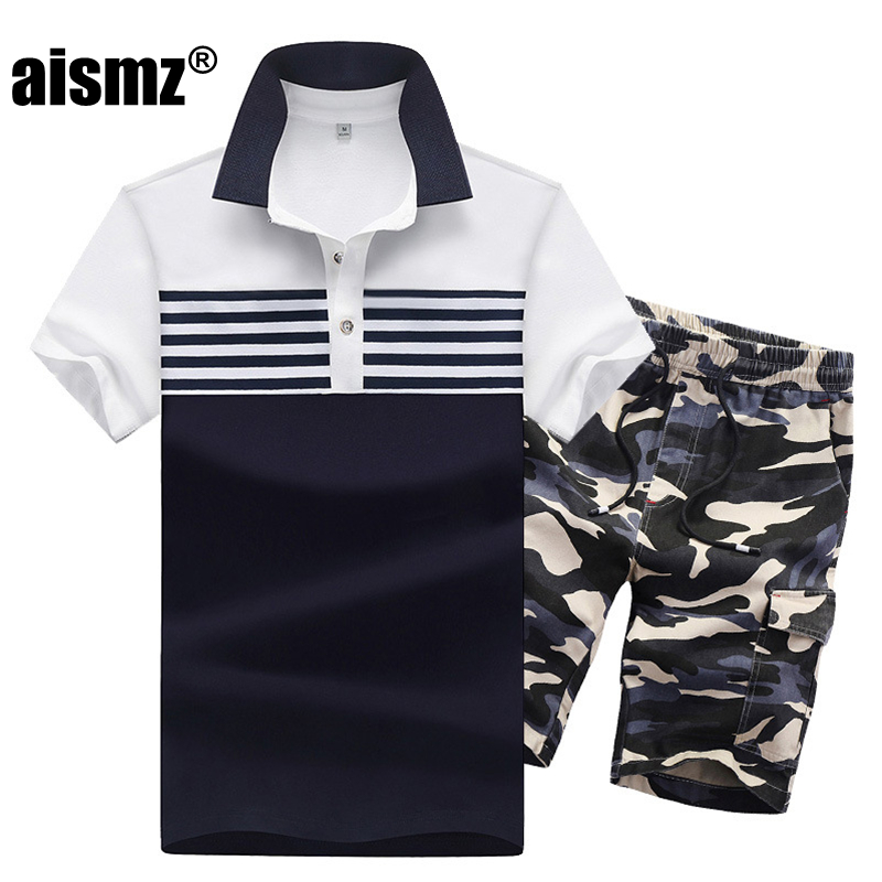Aismz Summer Casual Sets Tracksuits Men Clothing Stand Collars Sportswear Polo Shirt+Shorts Fashion Mens Set Camisetas Hombre