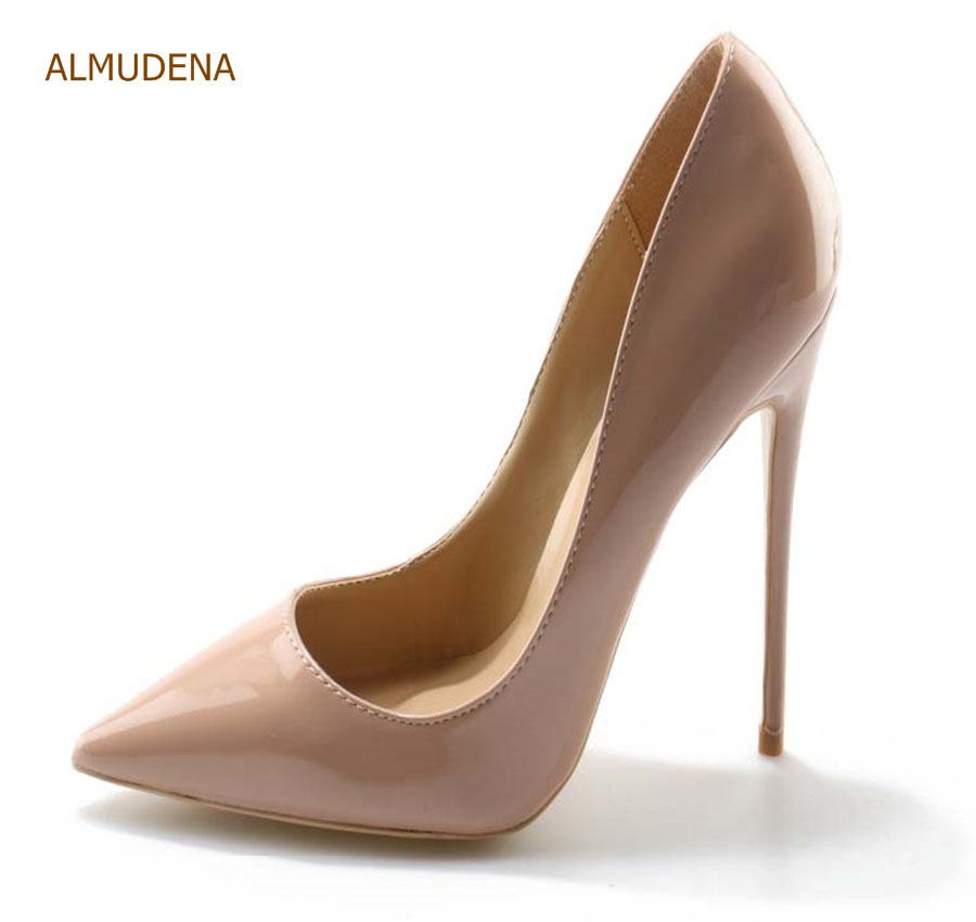 ALMUDENA Brand Stiletto Heel Pumps Nude Patent Leather Dress Shoes Concise Pointed Toe 12cm High Heel Exquisite Party Shoes