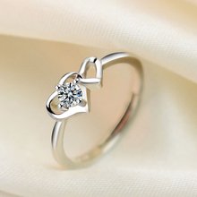 Opening Double Heart Wedding Rings For Women Female Simple Silver Color Heart Shape Ring Fashion Jewelry Lovers Rings For Couple heart style titanium steel couple lovers rings silver