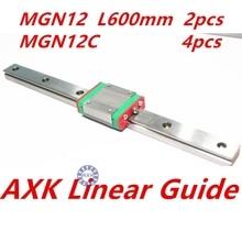 2017 Satış Koştu Cnc Router Parçaları Axk Lineer Ray 2 adet 12mm L 600mm Mgn12 Lineer Kılavuz Ray + 4 adet Mgn12c Mgn Blokları taşıma