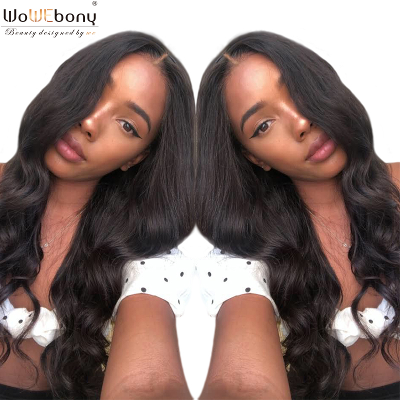 WoWEbony 100% Human Hair Lace Wigs Long Romance Wavy Indian Remy Hair Lace Front Wigs With Baby Hair Middle Part [LFW095]