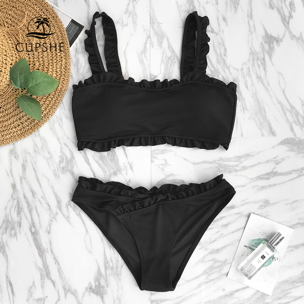 CUPSHE Black Solid Bikini Set Women Plain Ruffle Crop Top Thong Two Pieces Swimwear 2020 Girl Beach Bathing Suits Swimsuits