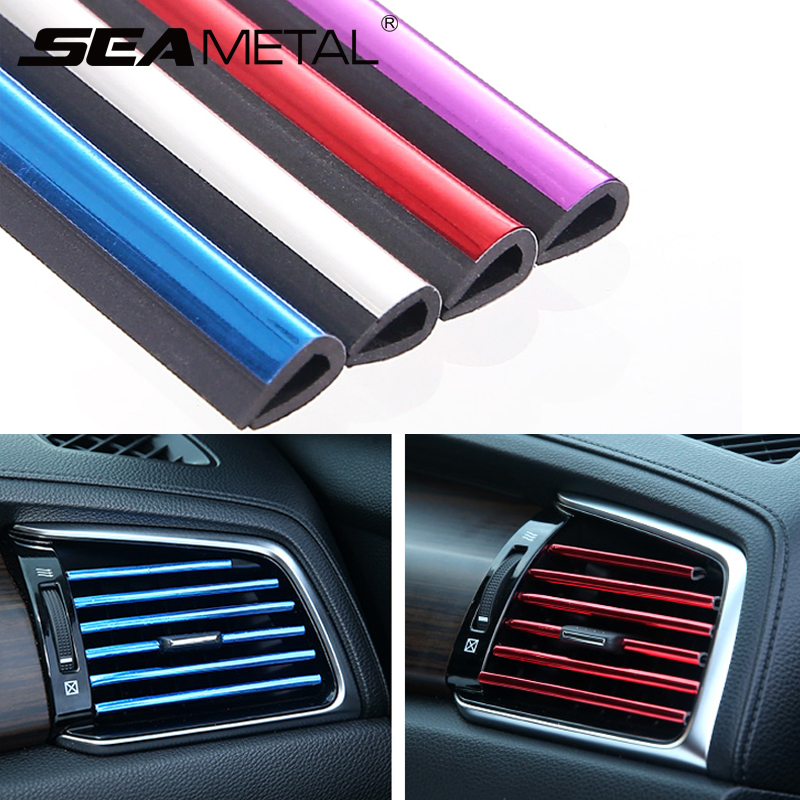Stickers Car Interior Accessories Auto Internal Decoration Strips Universal Air Outlet Vent Decorative Mouldings Chrome Styling-in Car Stickers from Automobiles & Motorcycles