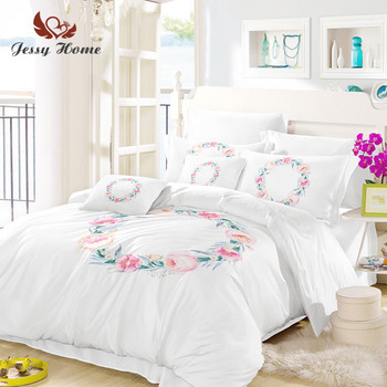 Wreath Bedding Set Queen Size White and Pink Duvet Cover Flower Bed Set Bedclothes 3pcs US/AU/RU Size with Pillow Case M1045
