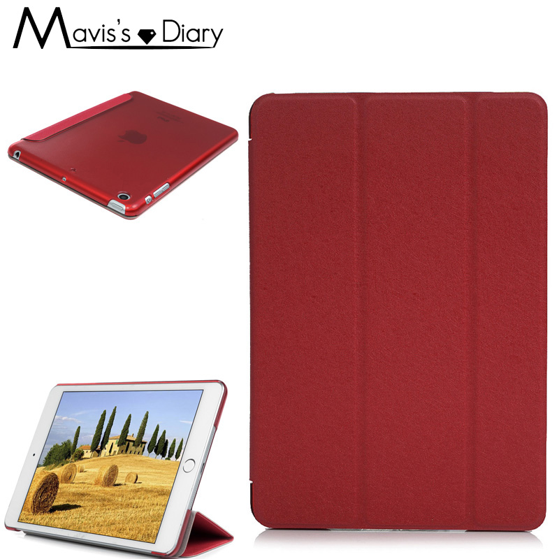 For iPad Mini 1 2 3 Ultra Slim Tri-fold PU Leather Case with Crystal Hard Back Transparent Smart Stand Cover Shell Funda Holder
