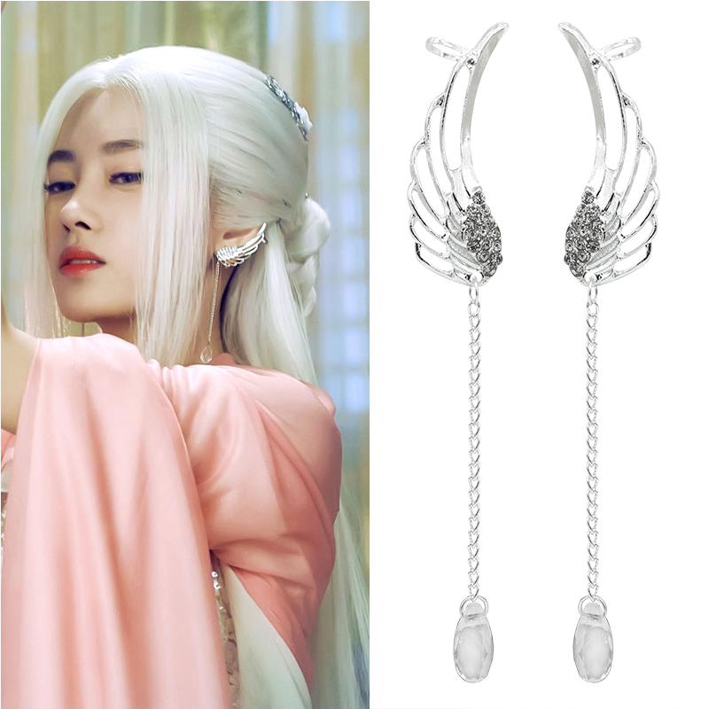 Fashion Hollow Angel Wings Earrings For Women Lovely Rhinestones Long Tassel Ear Cuff Clip Jewelry Animal Wing Earrings Brincos