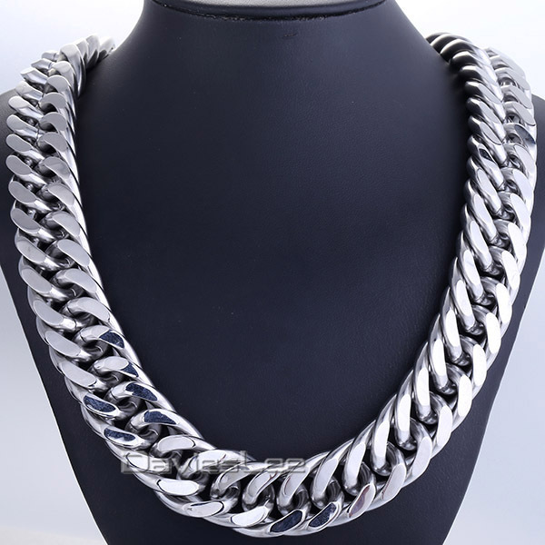 Fashion Gift 22mm Heavy Silver Tone Double Curb Link Rombo Mens Chain Boy 316L Stainless Steel Necklace 18-36inch Jewelry DLHN55 trendsmax custom any length 10mm heavy figaro animal skin mens chain boys necklace silver tone 316l stainless steel hn34