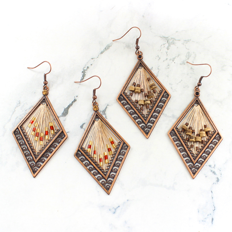 bronze rhombus Openwork carving pattern Lanyard beading earring Vintage charm earrings Female jewelry