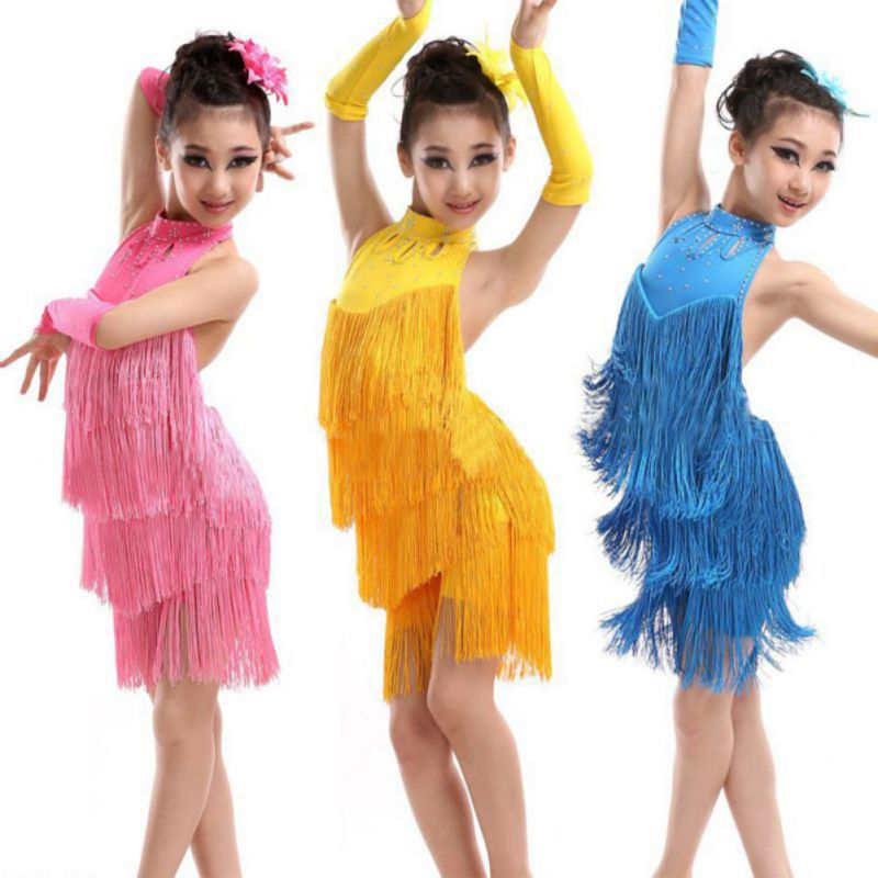 Kids Tasseled Ballroom Latin Salsa Dancewear Girls Party Dance Costume Dress