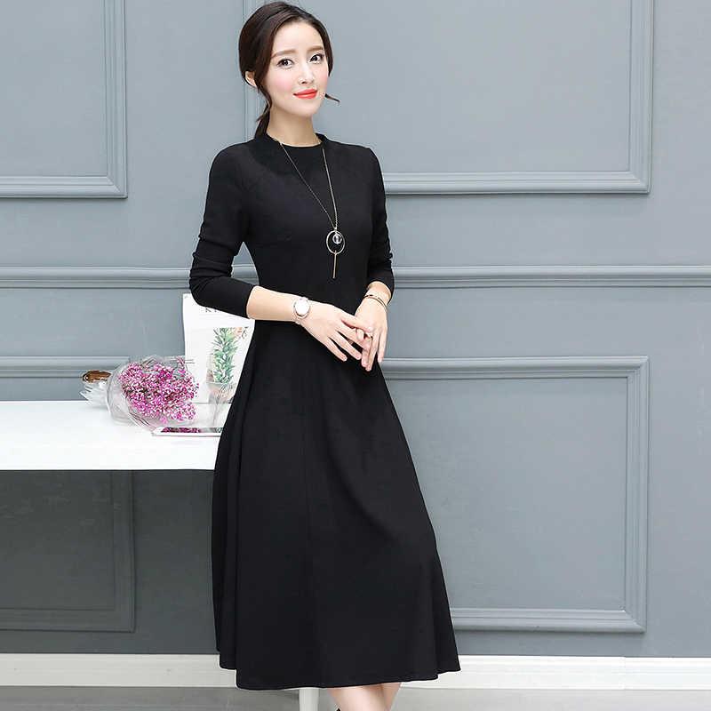 407418a78 ... 2018 otoño invierno nuevo talla grande Vintage negro Midi vestidos  mujeres Bodycon Sexy sólido Maxi Vestido ...