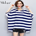 MissLymi XXXL-6XL Plus Size Women Stripe Oversized T-shirt 2017 New Summer Casual O-neck Short Sleeve Loose White Blue Tops