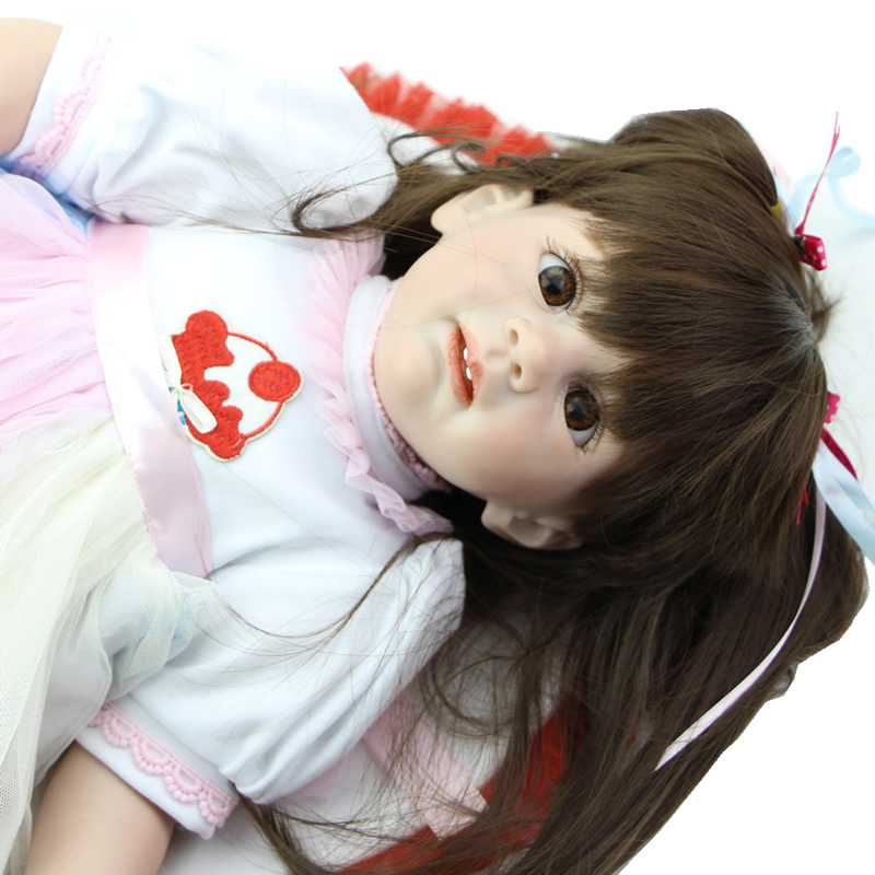 silicone reborn doll looks like real baby 24 inch girl reborn baby doll life size doll baby toy. Black Bedroom Furniture Sets. Home Design Ideas