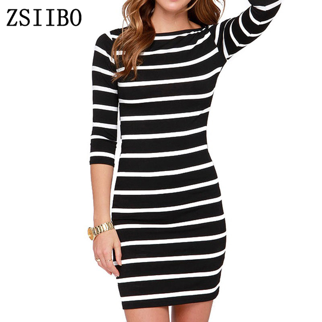 26d9f98ecf LOW PRICE Spring Summer Women Round Neck Fashion Black and White Striped  Long Sleeve Straight Plus
