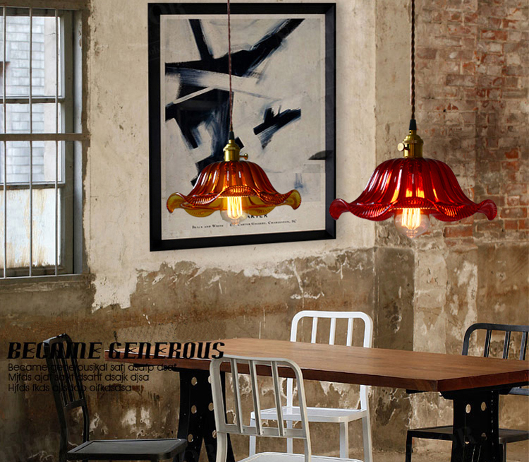 Clear/Red/Brown/Blue Lotus Glass Vintage Pendant Light Lamp Indoor Retro Ceiling Fixtures Lighting lole капри lsw1207 lotus capri xs evening blue