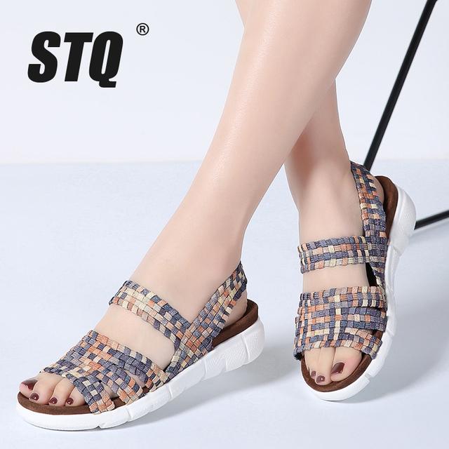 STQ 2019 women flat sandals shoes women woven wedge sandals shoes ladies beach summer slingback sandals flipflops shoes 802