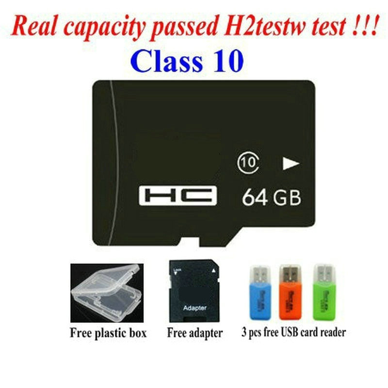 Free shipping - Real capacity memory cards 2GB 4GB 8GB class 4 16GB 32GB 64GB class10 micro original tf sd cards +USB Reader