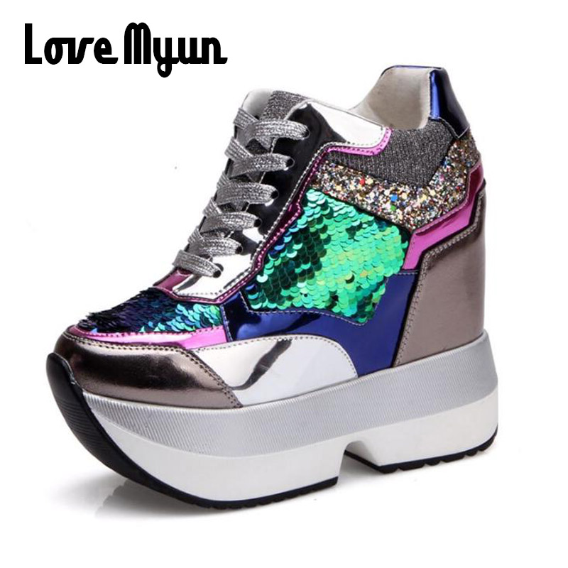 519df431758 Detail Feedback Questions about Lady Sequins Bling Casual Shoes Women  wedges Platform Shoes Height Increase leather Shoes Thick Sole Trainers  high heels NN ...