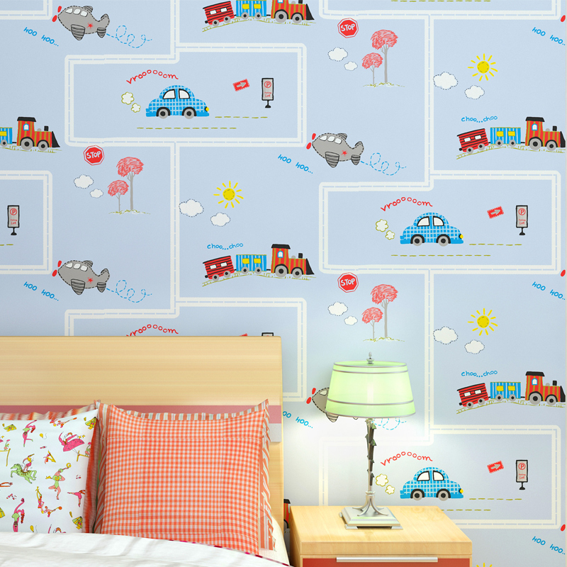 Child Baby Room Non-woven Vinyl Wallpaper Roll With Blue Stripe Car Bus Train Wall Paper Kids Room Wallcoverings