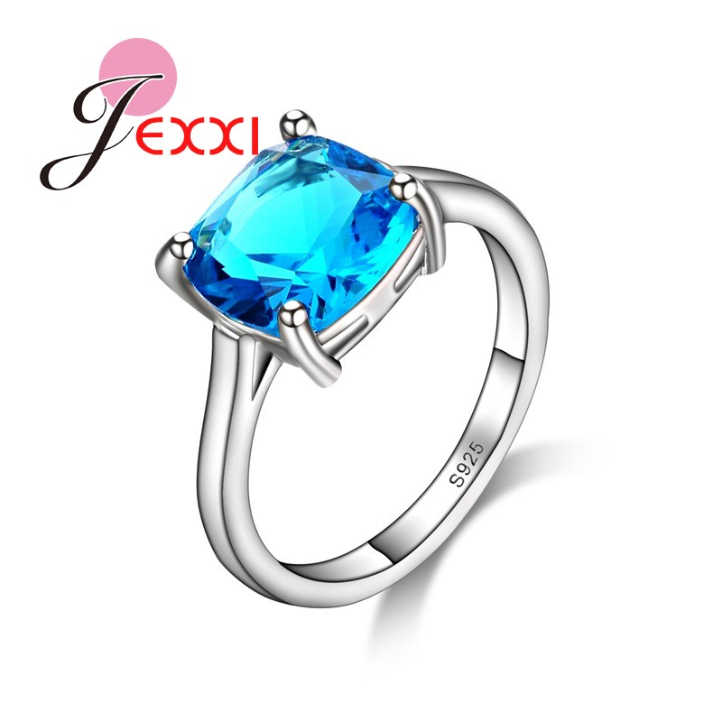 JEXXI Top Quality Blue Square Cut Crystal Women Finger Ring 925 Sterling Silver Cubic Zirconia Lady Engagement Rings Wholesale