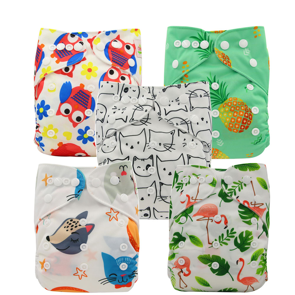 5pcs/set Washable Reusable Baby Pocket Cloth Pocket Nappy Diaper 5pcs Baby Nappies And 5 Microfiber Inserts In One Set