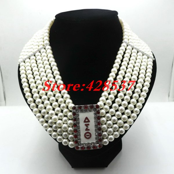 Delta Sigma Theta Earrings: DST Greek Greece Sorority Symbol Jewelry Round Imitational