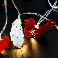 Metal Red Bird Lighting White Feather Holiday 10 LED String Lights Fairy Christmas Light Home Garden