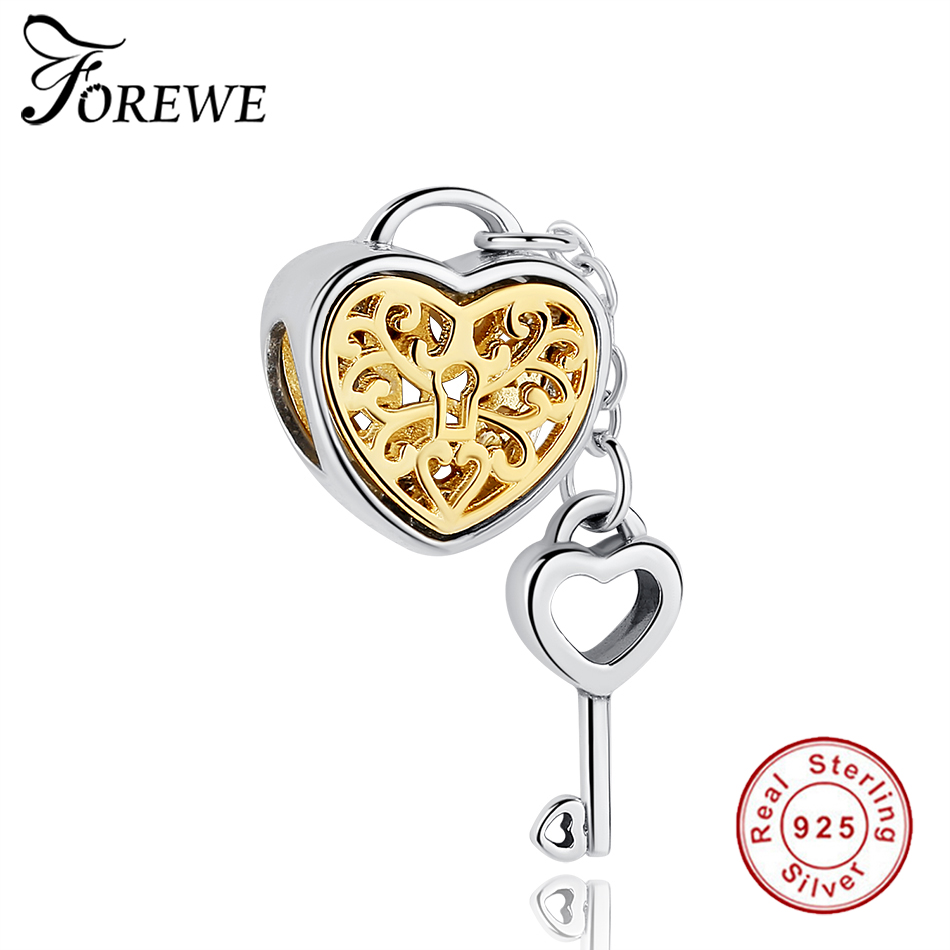 925 Sterling Silver Gold Color Locket Heart Bead Fit Original Pandora Charm Bracelet & Bangles DIY Authentic Jewelry Accessories