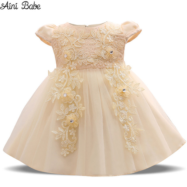 Aini Babe Baby Mädchen Kleid 1 Jahre Geburtstag Spitze Häkeln Taufe