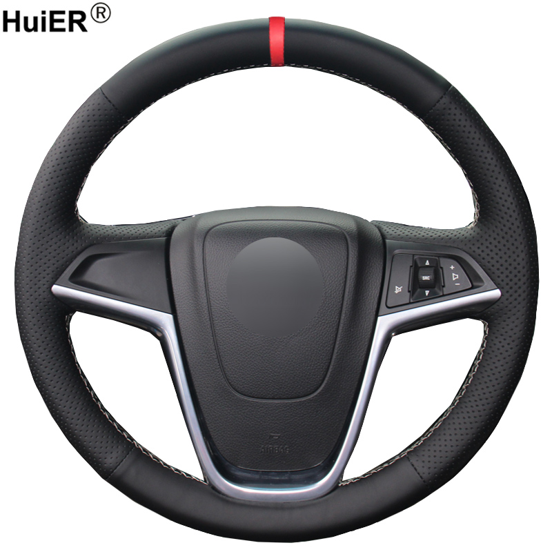 HuiER Hand Sewing Car Steering Wheel Cover Red Marker For Buick Excelle XT GT Encore Opel Mokka Steering-wheel Car Accessorie