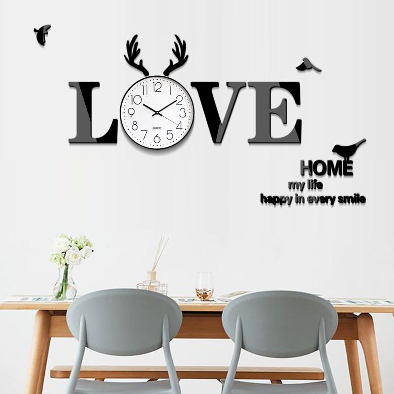 Acrilico AMORE 3D wall sticker orologio da parete Creativo orologio Muto Nordic soggiorno moderno FAI DA TE auto adesivo della decorazione della pittura