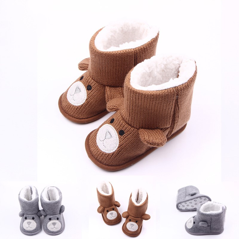 Toddler  Brush Snowshoes Winter Baby Shoes Anti-slip Christmas Booties Animal Cartoon Babyshoes