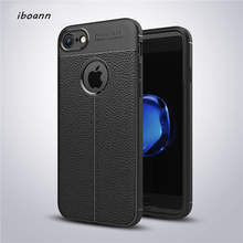 iboann Luxury Soft Silicon Litchi Striae Leather tpu Case for iphone 5 5s 6 6s 6plus 7 8 plus X phone Protection cases cover