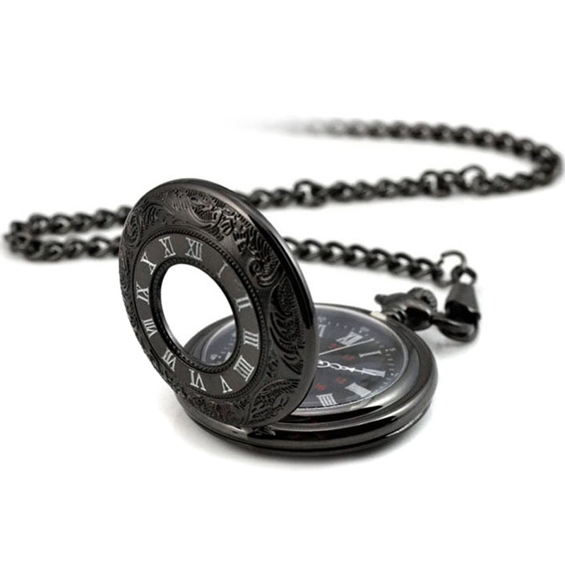 Fashion Vintage Men And Women Quartz Pocket Watch With Chain Roman Number Unisex Necklace Pendant Gifts LXH chinese zodiac bronze pig quartz pocket watch necklace pendant carving back for women men gifts lxh