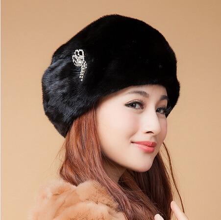 2017 new design women's fur hat rhinestone tassel mink hat fashion thermal