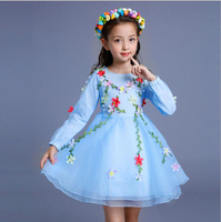 Multicolor 2017 Autumn New Baby Girls Floral Autumn Dress Girls Chiffon Princess Party Dress 4 12
