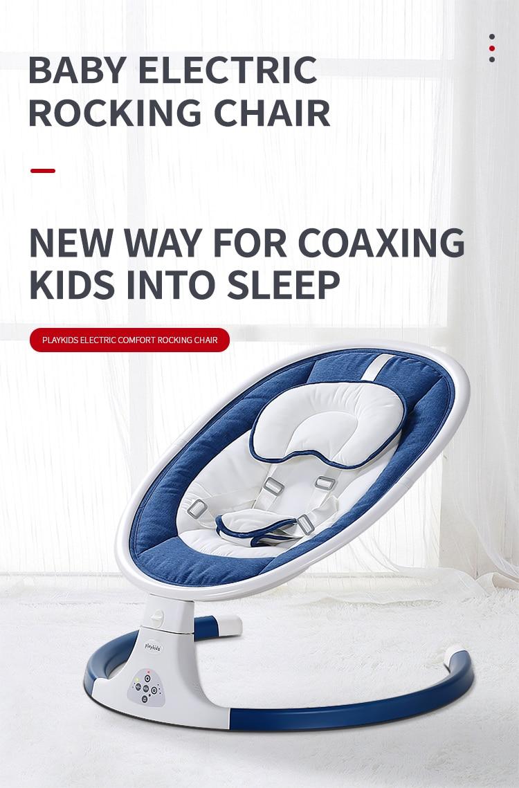 HTB1.gAIaET1gK0jSZFhq6yAtVXao Playkids Electric Cradle 0-3 Baby Rocking Chair Soothing the Baby's Sleeps Newborn Three Speed Control Sleeping Music Swing