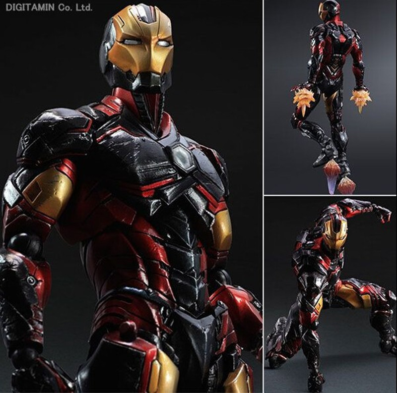 Play Arts Kai Iron Man Super Hero Age of Ultron Tony Stark Hulkbuster PA 25cm PVC Action Figure Doll Toys Kids Gift Brinquedos