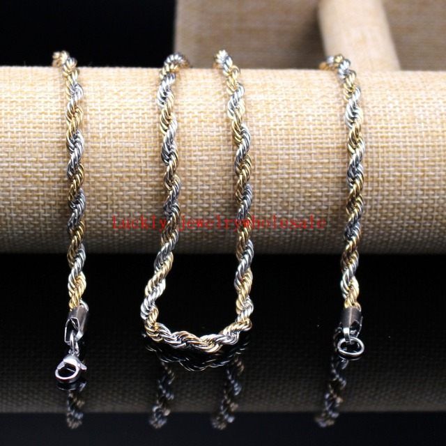 0050c9006214c 24 inch 5mm  6mm Gold Silver Stainless Steel Twisted singapore chain Rope  Chain Link Necklaces