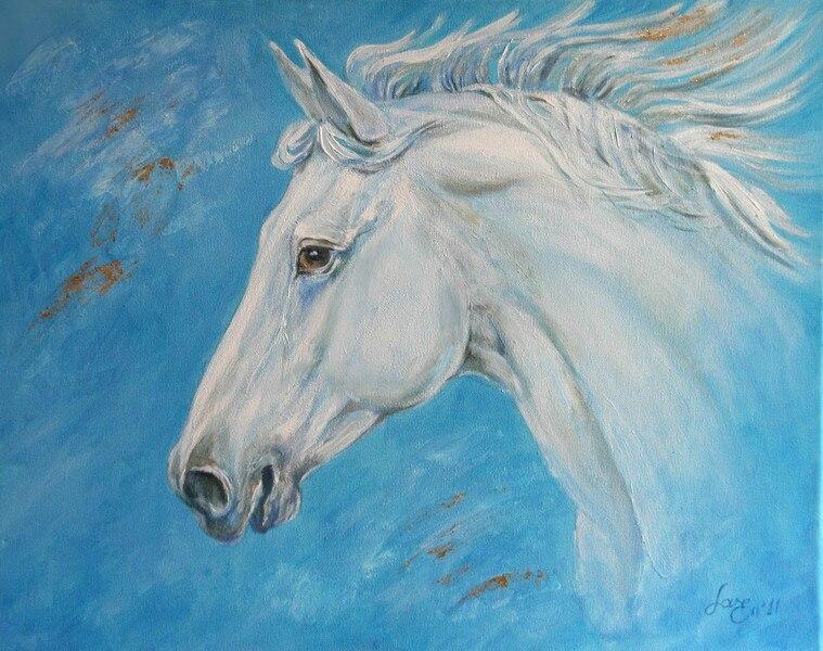 DIY diamond painting 5D round diamond White horse head embroidery diamond cross stitch plastic crafts painting