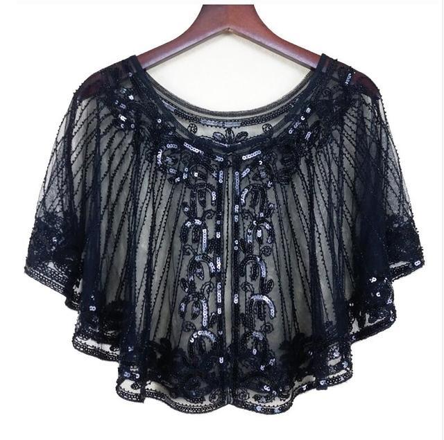 123774cae7 קנו נשים ' s צעיפים | Vintage 1920s Flapper Shawl Sequin Beaded ...