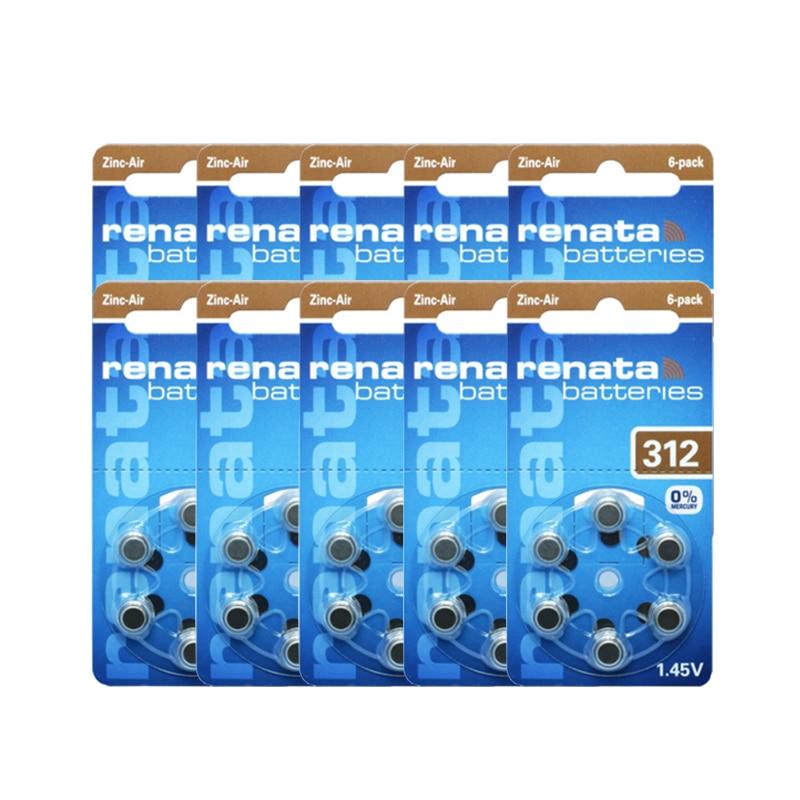 Рената 60 шт. 10 пакетов цинк Air Размеры <font><b>312</b></font> p312 <font><b>pr41</b></font> слуховой аппарат Батареи