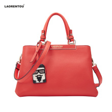 laorentou brand leather women fashion handbag cowhide tote bag in high quality