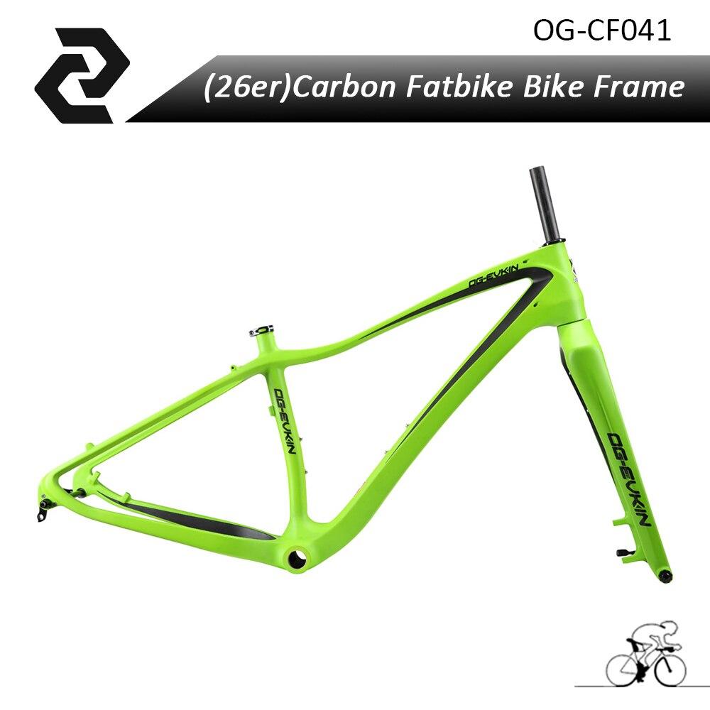 2018 26er Carbon Snow bike Frame UD Matt BB68 Carbon Bicycle Frame Monocoque 26 through Axle 15X197mm Bicicletas OG-EVKIN