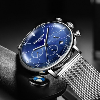 NIBOSI New Watches Thin Watch Men Luxury Blue Stainless Steel Watch Men Waterproof Mens Watches Chronograph Relogio Masculino