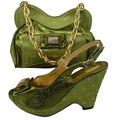 Fashion Italy shoe and matching bag set for lady party and wedding Size 38/40/41/42 Army Green color GF07