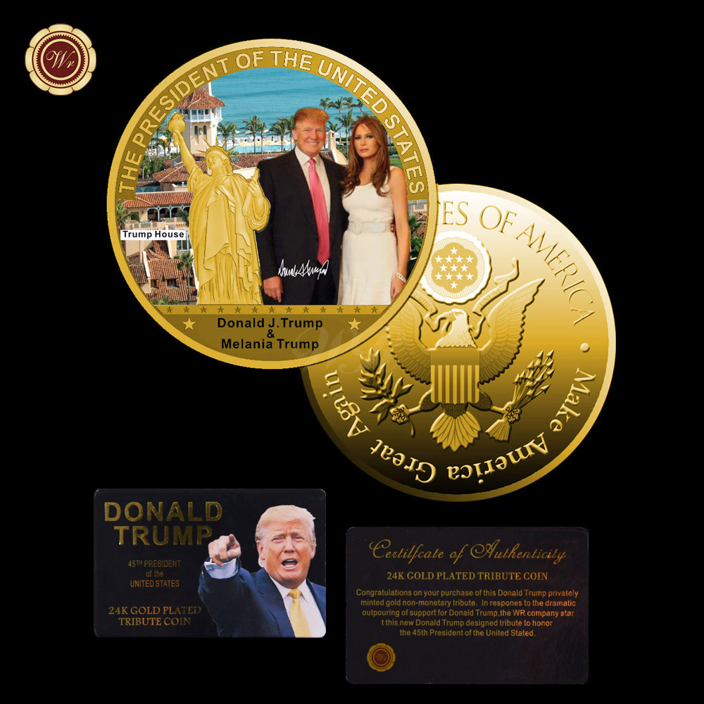 WR Decorative Gifts The United States President Coin 24k Gold Plated Donald Trump and The Ivanka Coin with Certificate 40mm